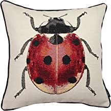 McAlister Textiles Bug's Life Pillow Cover | Funky Tapestry Ladybird Red & Black Design Decorative Scatter Throw Cushion Sham| Size - 16 x 16 Inches