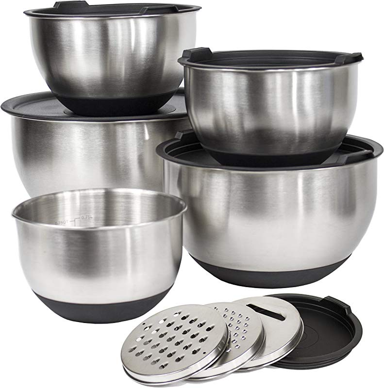 Deluxe Set 5 Premium Grade Stainless Steel Mixing Bowl Set With Lids And Non Skid Bottoms Stainless Steel Mixing Bowls With Pour Spout Measurement Marks And 3 Grater Attachments