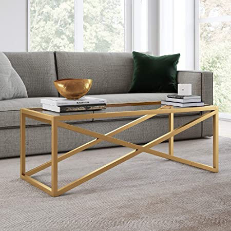 Cosmoliving By Cosmopolitan Cosmoliving Juliette Top Soft Brass Tempered Glass Coffee Table Furniture Decor