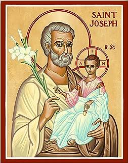 Monastery Icons Saint Joseph and Child Jesus Mounted Plaque Icon Reproduction 11