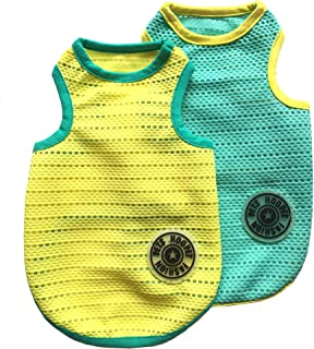 HOOPET 2 Pcs Pet Dogs Breathable Mesh Tank Top, Dog Sleeveless Summer T Shirt Vest for Small to Medium Dogs Cats