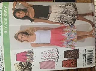Simplicity 4236 Sewing Pattern for Slim, Full & Half Circle Side Zip Faced Waist Skirts Misses 12 14 16 18 20