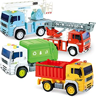 JOYIN 4 Pack Friction Powered City Vehicles Including Garbage Truck, Fire Engine Truck, Boom Lift Truck and Construction D...