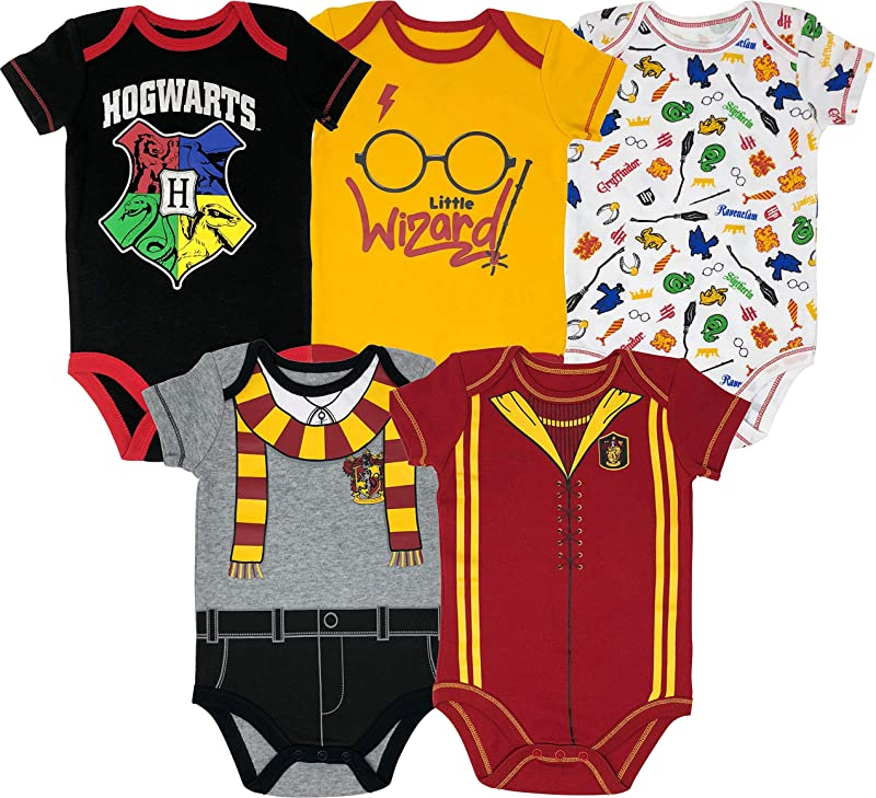 Warner Bros Harry Potter Baby Boys 5 Pack Bodysuits Hogwarts Gryffindor