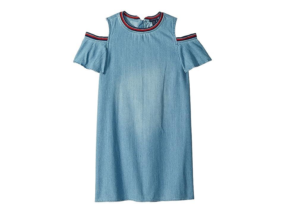 Tommy Hilfiger Kids Cold Shoulder Denim Dress (Big Kids) (Chelsea Wash) Girl