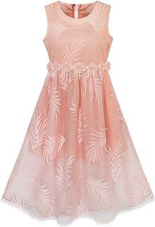 26bd5ba5b684e Sunny Fashion Robe Fille Dentelle Feuille Imprimer Élégant Princesse Partie  Mariage 7-16 Ans