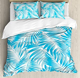 Ambesonne Leaf Duvet Cover Set, Miami Tropical Aquatic Palm Leaves with Exotic Colors Modern Summer Beach, Decorative 3 Piece Bedding Set with 2 Pillow Shams, Queen Size, Turquoise White
