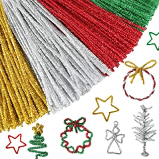Pllieay 412 Pieces Christmas Pipe Cleaners Craft, 12 Inch Pipe Cleaners for Christmas DIY, Creative Crafts Decorations (Re...