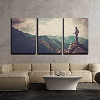 wall26 - 3 Piece Canvas Wall Art - Woman Hiker on a Top of a Mountain - Modern Home Decor Stretched and Framed Ready to Hang - 24