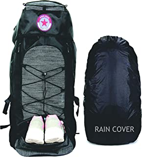 POLESTAR Flyer Black 55 ltrs Rucksack for Hiking Trekking/Travel Backpack