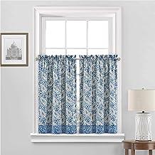 "WAVERLY Paisley Verveine Small Panel Tiers Privacy Window Treatment Pair Bathroom, Living Room, 52"" x 36"", Blue Jay"