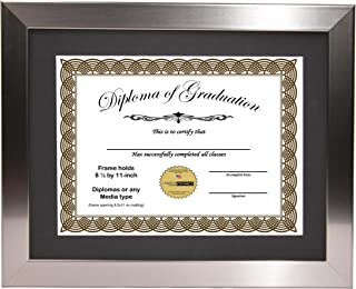 """Creative Picture Frames 11"""" x 14"""" Stainless Steel Finish Diploma Frame with Black Mat to Hold 8.5 by 11-inch Graduation Documents w/Stand and Wall Hanger"""