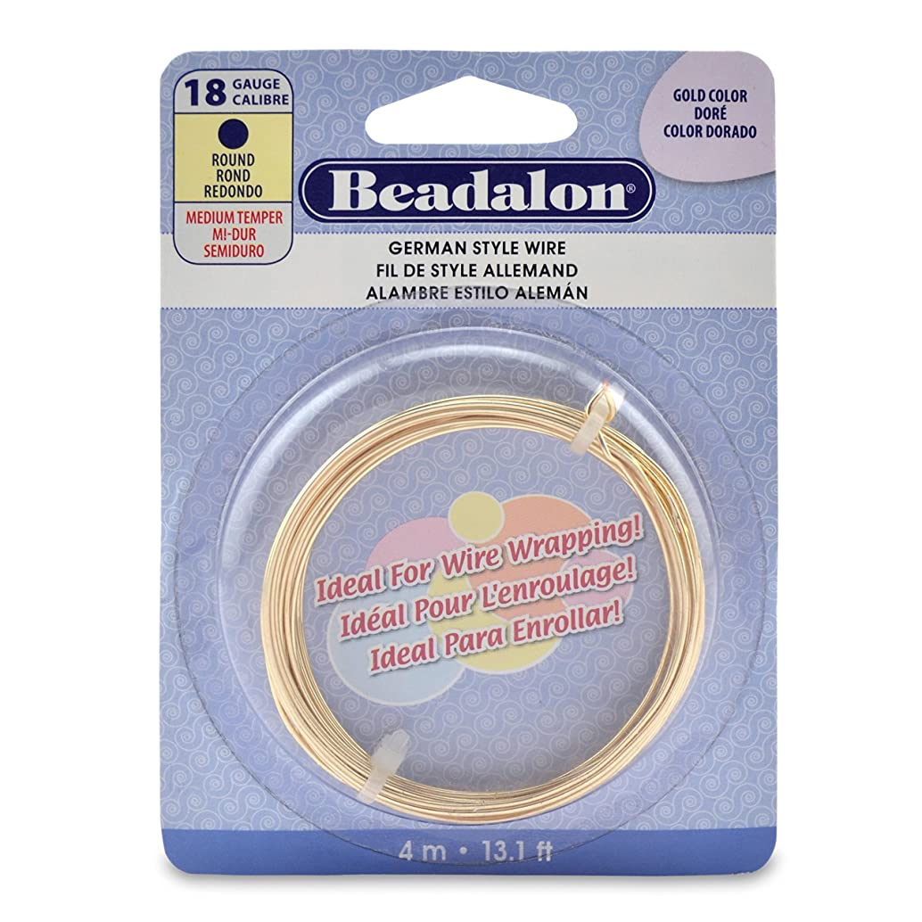 Beadalon (1-Pack) German Style Wire Round Gold Color 18 gauge (.040 in 1.02 mm) Diameter 4 m (13 ft) 180A-018-1P