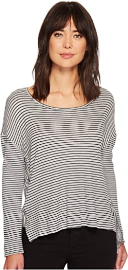 Long Sleeve Side Tie Drapey Stripe Knit Top