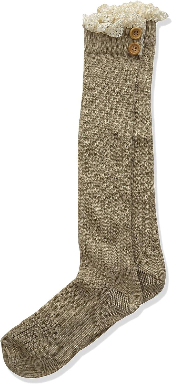 Jefferies Socks Girls' Big Lace & Buttons Boot Knee High Socks