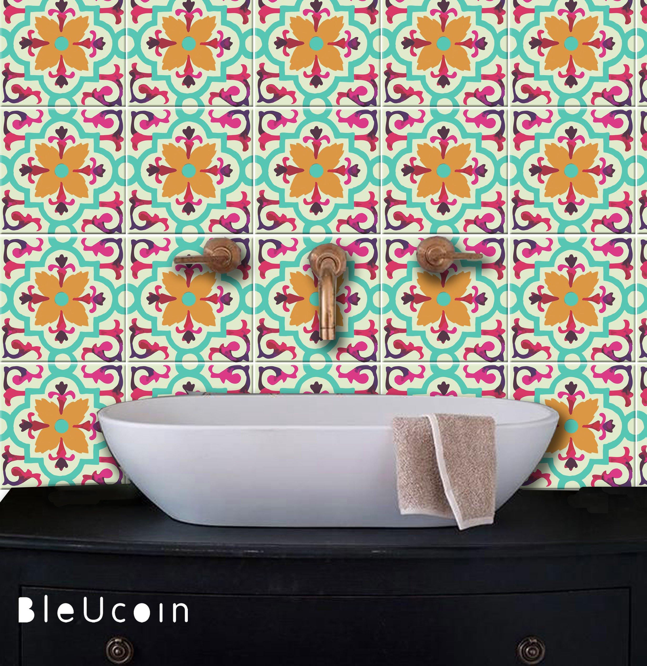 Amazon Com Art Deco Multicolour Tile Stickers For Kitchen Bathroom Backsplash Removable Stair Riser Peel Stick Home Decor Pack Of 44 4 25 X Inches