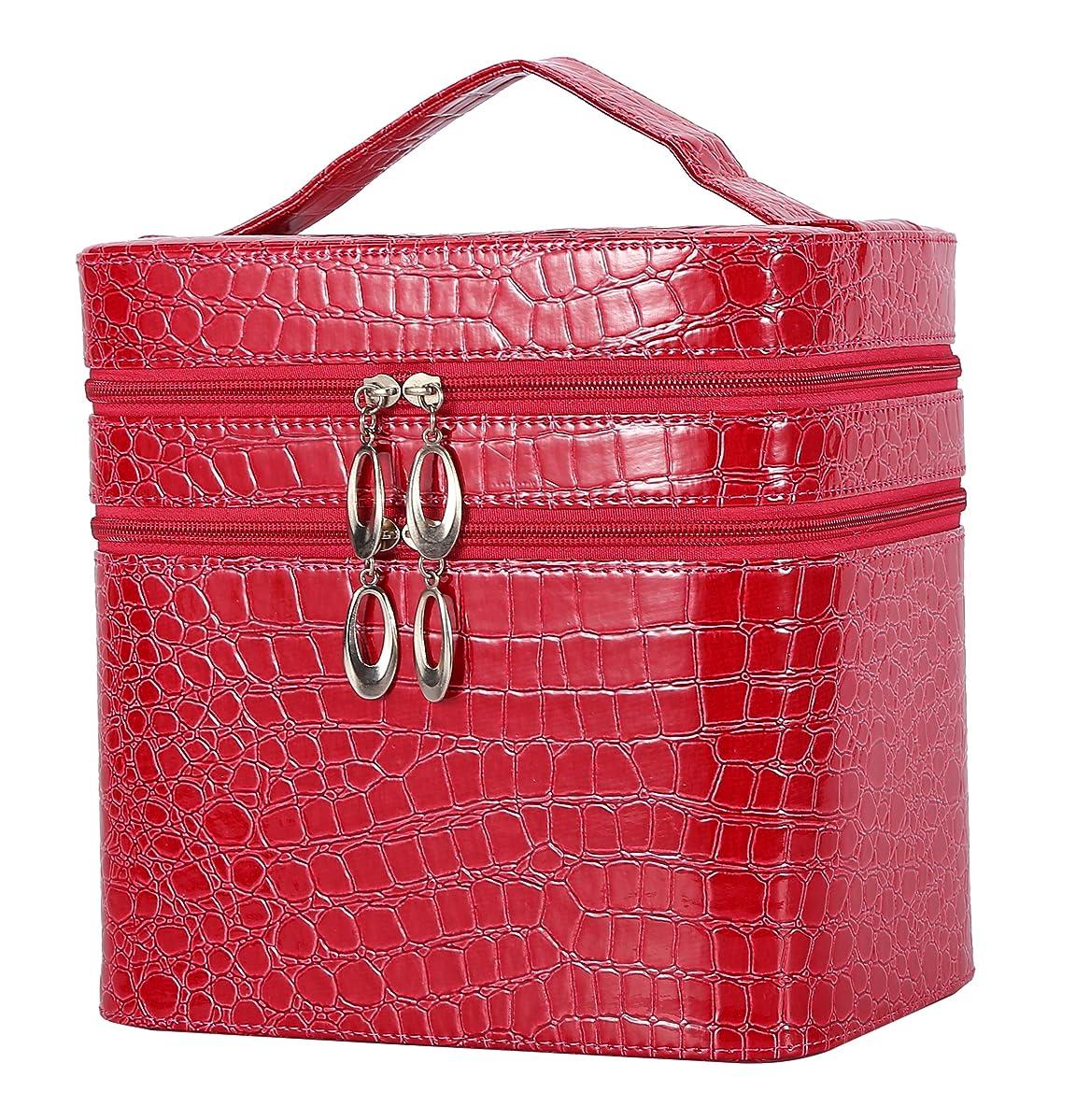 経度顕著スピンHOYOFO メイクボックス 大容量 鏡付き おしゃれ コスメ収納 化粧品 収納 化粧 ボックス 2段タイプ レッド 赤