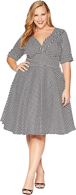 Plus Size 1950s Delores Swing Dress with Sleeves