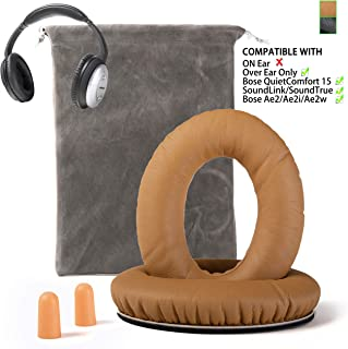 Replacement for Bose QC15 Headphone Ear Pads Cushion Muffs Compatible with QuietComfort 15, QC2, Ae2, Ae2i, Ae2w, SoundLink & SoundTrue (Over Eear ONLY), Khaki