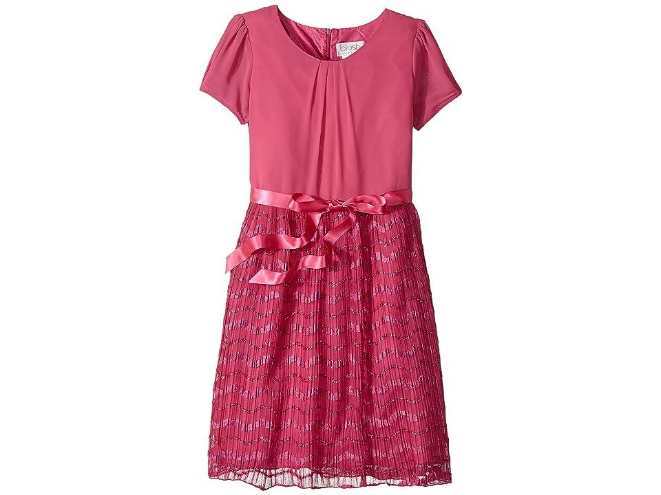 Us Angels Cap Sleeve Dress with Sparkle Ribbon (Big Kids) (Magenta) Girl