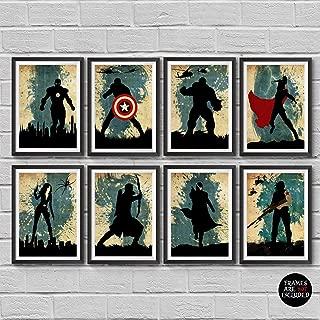 The Avengers Poster Set 8 Minimalist Watercolor Marvel superheroes Movie Print Captain America Iron Man Thor Hulk Black Widow Hawkeye Nick Fury Winter Soldier Bucky Barnes Artwork Wall Art Home Decor