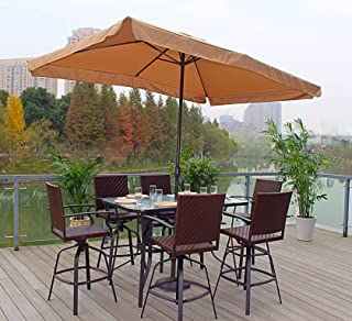 Pebble Lane Living All Weather Rust Proof Indoor/Outdoor 7pc Powder Coated Patio Bar Dining Set (Free Umbrella), 1 Tempered Glass Top Bar Dining Table, 6 Wicker Bar Stools & Umbrella, Brown Mocha