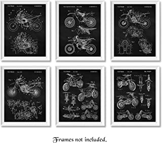 Original Honda, Yamaha, Kawasaki, KTM Motocross Dirt Bikes Patent Poster Prints, Set of 6 (8x10) Unframed Photos, Wall Art Decor Gifts Under 20 for Home, Office, Man Cave, College Student, X Games