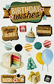 Paper House Productions STDM-0242E 3D Cardstock Stickers, Birthday Wishes (3-Pack)