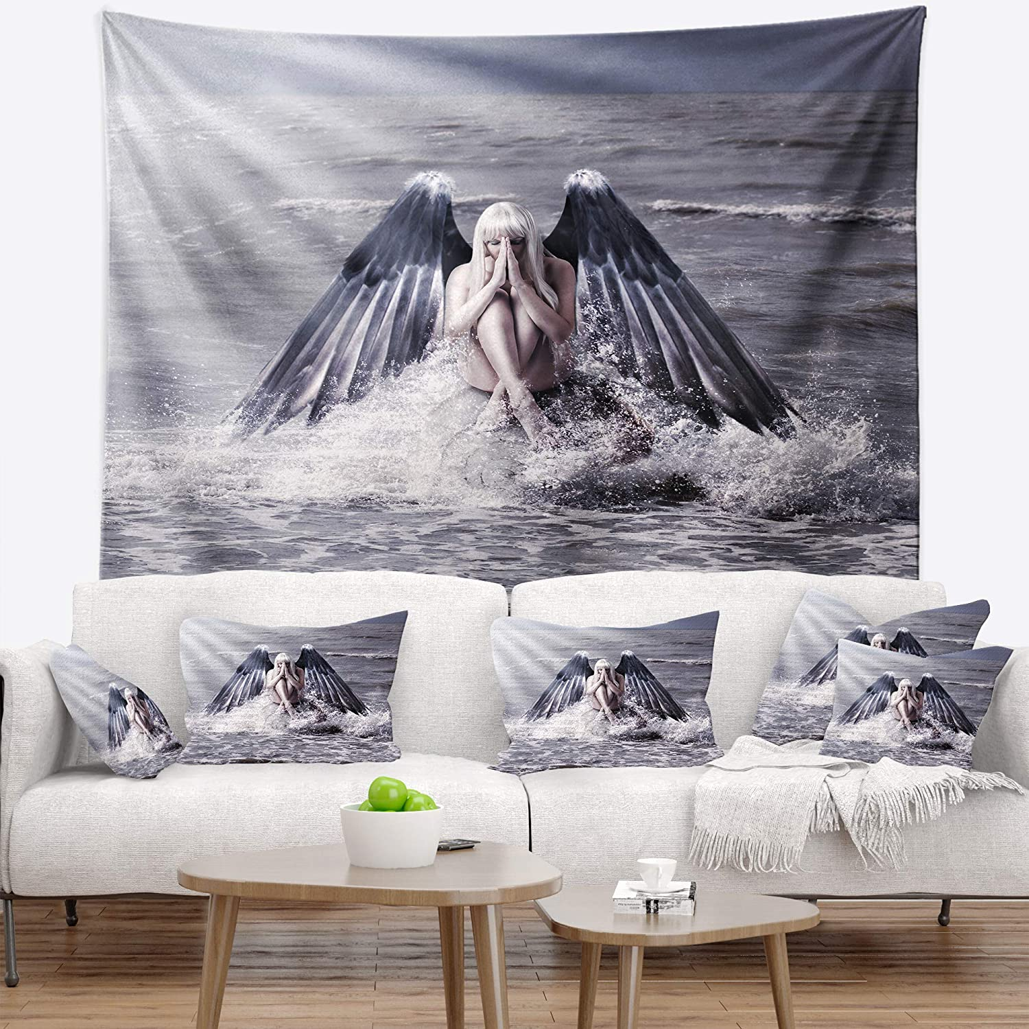 Designart TAP10471-50-60 ' Woman with Dark Angel Wings' Modern Beach Blanket Décor Art for Home and Office Wall Tapestry Large  50 in. x 60 in. in