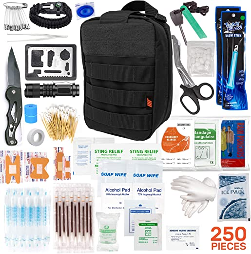 250pcs Tactical First Aid Kit Includes Molle Compatible Bag - Perfect for Survival Kit, Emergency Kit, Tactical Bag, First Aid Kit for Camping and Hiking, Cars, Boating First Aid (Camoflage)