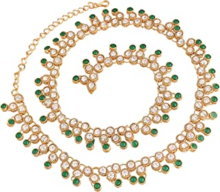 I Jewels 18k Gold Plated Ethnic Kundan Stone Studded Kamarband/Belly Chain for Women (B028G)