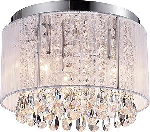 PAPAYA Flush Mount Light Fixture Crystal Ceiling Light White Drum Shade Chandelier 3 Light