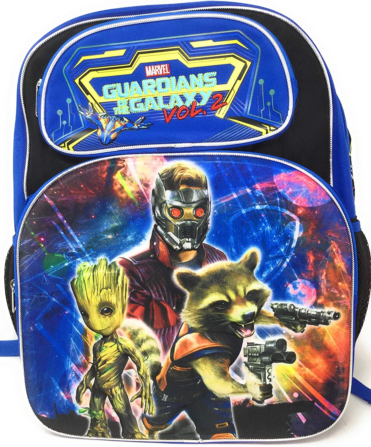 Marvel Guardians Of The Galaxy Vol 2, 3D Deluxe 16  Backpack. Features Star Lord, Groot and Rocket. Canvas Backpack with 2 Extra Front Pockets & Embroidered Writing, Padded Back and Shoulder Straps  Top Quality You Can See