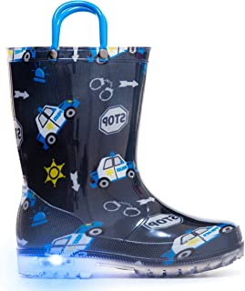 MOFEVER Toddler Kids Light Up Rain Boots