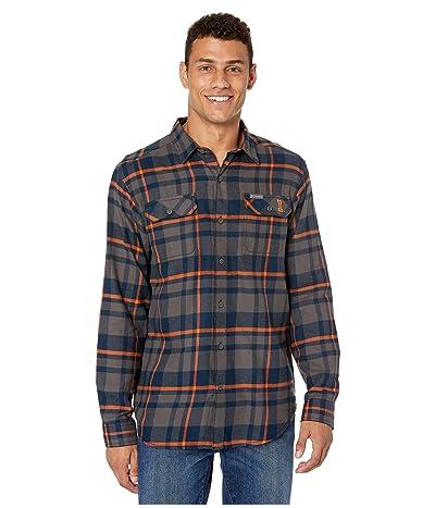 Columbia College Illinois Fighting Illini Collegiate Flare Guntm Flannel Long Sleeve Shirt (Collegiate Navy Plaid) Men