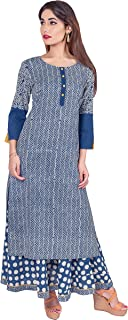 Missprint Women's Hand Block Printed 3/4 Sleeve Anarkali Fabric Cotton Scoop Neck Straight Long Kurta With Flared Polka Dot Skirt