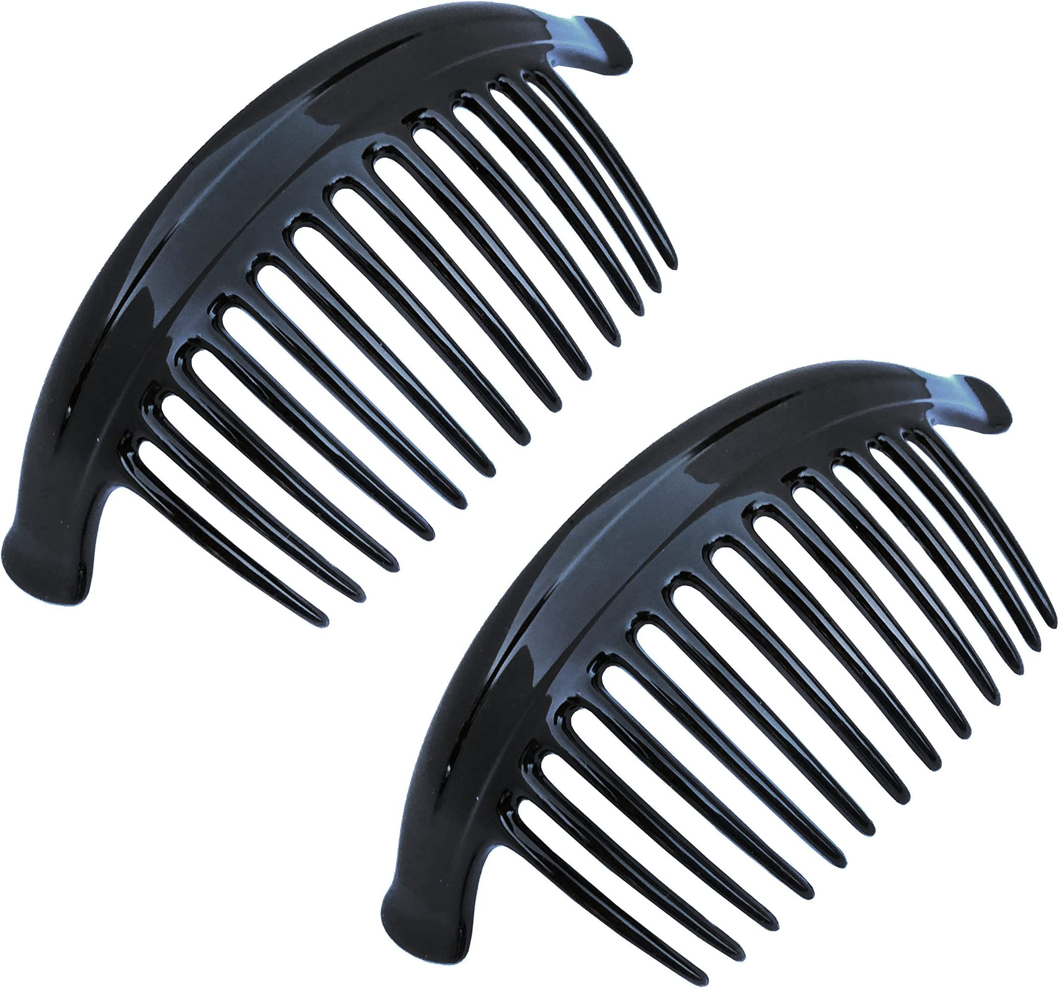 Parcelona French Lip Interlocking Large 9 Teeth Cellulose Shell Side Hair Combs