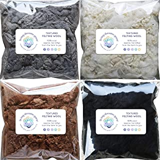 Textured Felting Wool. Corriedale Fiber Includes Curly Locks for Needle Felting, Spinning, Doll Hair and Waldorf Crafts - 4 Color Variety Pack
