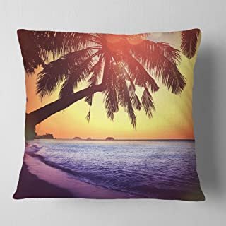 Designart Beach with Silhouettes of Palms' Seashore Throw Cushion Pillow Cover for Living Room, sofa 18 in. x 18 in