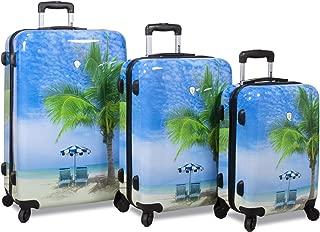 Palm Tree Hardside 3-Piece Spinner Luggage Set