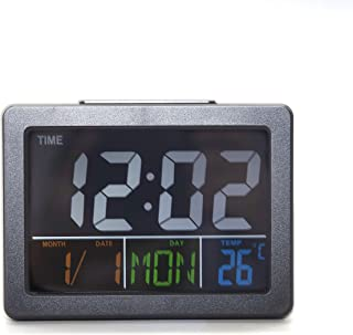 Voice-Control Night Light Colorful Screen Digital Alarm Clock, Large Number Display Easy to Read and Use (Black)