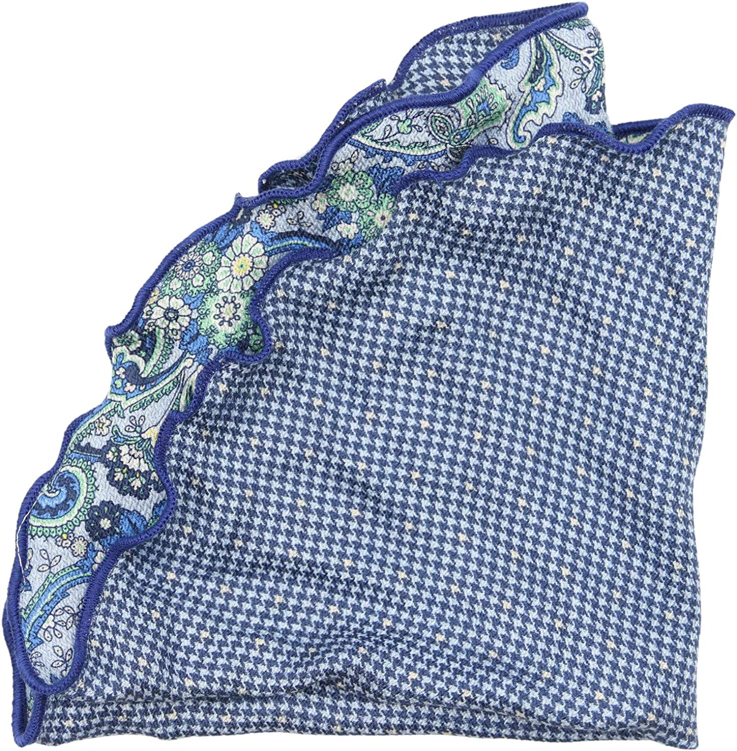 Edward Armah Hounds Tooth and Paisley Pocket Square