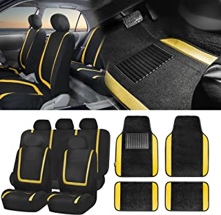 FH Group FH-FB032115 Unique Flat Cloth Seat Covers with F14407 Premium Carpet Floor Mats, Yellow/Black Color- Fit Most Car, Truck, SUV, or Van