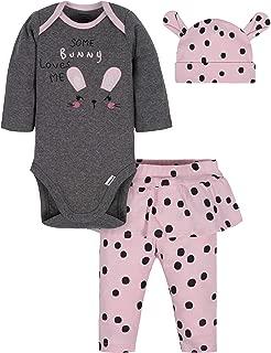 Baby Girls' 3-Piece Bodysuit, Pant and Cap Set