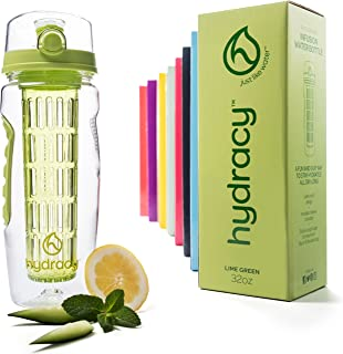 Hydracy Fruit Infuser Water Bottle -32 Oz Sports Bottle -Full Length Infusion Rod, Time Mark & Insulating Sleeve Combo Set +27 Fruit Infused Water Recipes eBook Gift -Your Healthy Hydration Made Easy