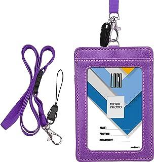 Porte-Badge, Wisdompro Double Face PU En Cuir PU Porte-Cartes Avec Badge Etui Portefeuille Avec Lanière/Sangle De Cou Déta...