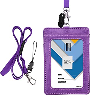 Badge Holder, Wisdompro 2-Sided PU Leather ID Badge Card Holder Wallet Case with 1 Clear ID Window and 1 Credit Card Slot and 22 Inch Quick Rlease Detachable Neck Lanyard Strap - Purple (Vertical)