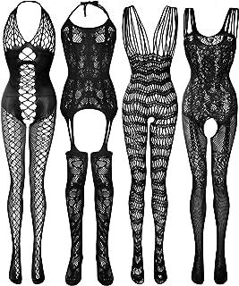 4 Pieces Women's Mesh Lingerie Underwear Set Lace Stockings Floral Fishnet Bodysuits