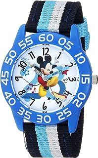 Disney Boys Mickey Mouse Analog-Quartz Watch with Nylon Strap, Black, 15.7 (Model: WDS000518)