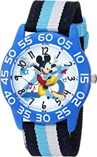Disney Boys Mickey Mouse Analog-Quartz Watch with Nylon Strap, Black, 15.7 (Model: WDS000518